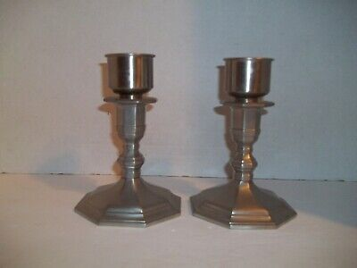 Pair Vintage Gorham Pewter Colonial Octagon Base Candlestick Candle Holders PH29