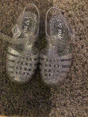 Girls Silver Glitter Jelly Shoes Size 11 NEXT