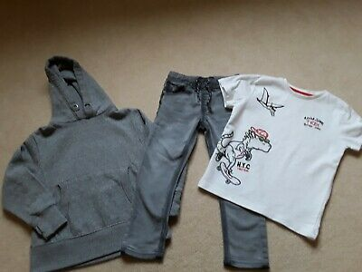 Next 100% Boys Bundle Age 5 Y T-Shirt Grey Skinny Jeans Grey Jumper Hoody