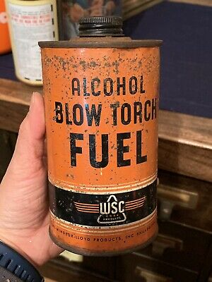 Vintage 1950's Alcohol Blow Torch Fuel Metal Can Gas Oil Sign