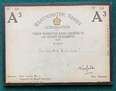 Antique Invitation Coronation King George VI Queen Elizabeth Countess Carlisle