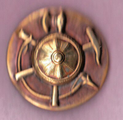 """VIKING TINTED BRASS PICTURE  BUTTON w SHIELD, SPEAR & AXE high relief 1 3/8"""" lrg"""