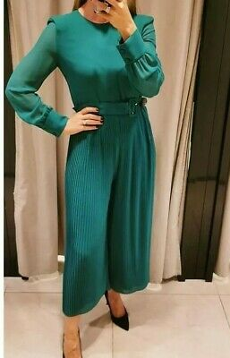 ZARA SIZE XS to XXL GREEN PLEATED JUMPSUIT WITH BELT LONG SLEEVES BNWT AW19