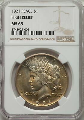 1921 US Peace Silver Dollar $1 - NGC MS65
