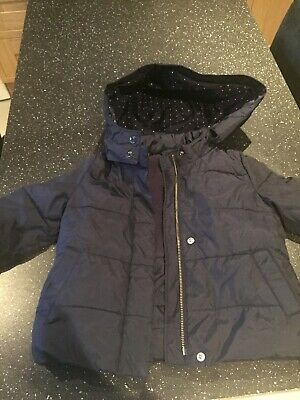 Baby Biys Gap Quilted Detachable Hooded Jacket Age 2 Years Navy