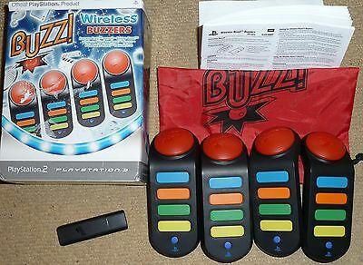 Sony Playstation 3 Ps3 Ps2 Official Set Wireless Buzz Buzzer Usb Receiver Dongle