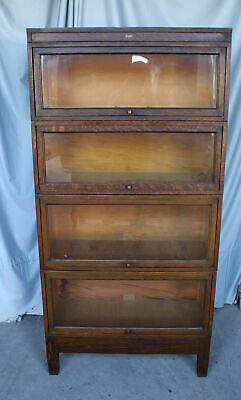 Antique Mission Oak Bookcase – 4 High Sectional Globe Wernicke – Original finish