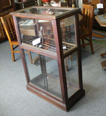 Antique Country Store Oak Cane and Umbrella Showcase Display Cabinet