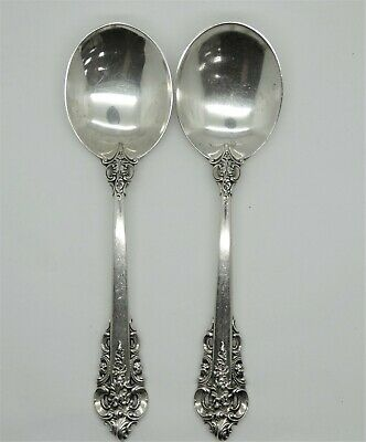 "Pair  Wallace Grande Baroque Sterling Silver 6 1/8"" Round Bowl Cream Soup Spoon"