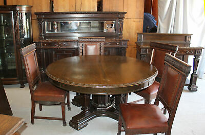 Antique Oak Dining Room Set – RJ Horner - Table, Chairs, Buffet, China, Server