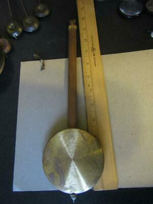 "Clock Pendulum Brass Tone Wooden Rod Vintage Bod 3.5"" Weight 3.5 oz 12"" Long"