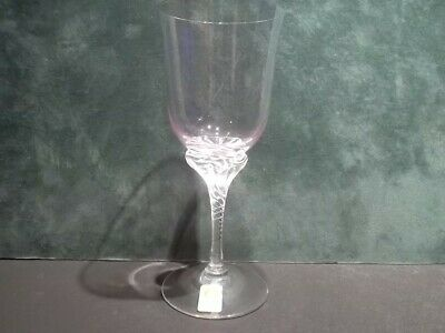 "SASAKI Hawthorne Coral (Pink) Crystal 6 1/4"" Wine Glass 656269 Twist Stem MINT"