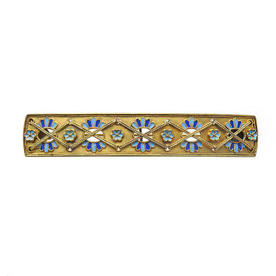 Victorian Egyptian Revival 14K Gold Enamel Watch Pin Brooch