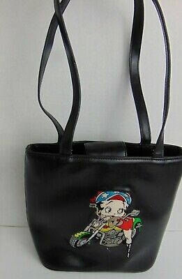 Betty Boop Handbag Purse Motorcycle Black Faux Leather Embroidered Bag