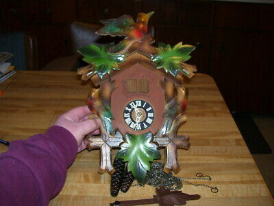 Antique Vintage Germany Black Forest Cuckoo Clock with Color Bird Trim
