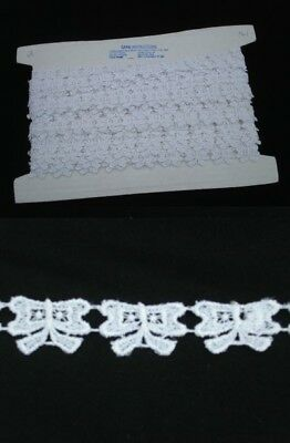 Guipure White Bow Patterned Trim - 13mts