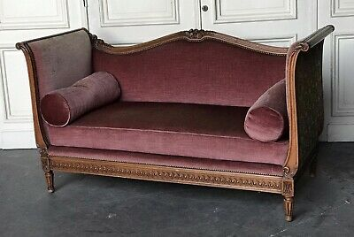 Wonderful Antique Walnut French Couch Settee Sofa Day Bed Circa 1870 Upholstered