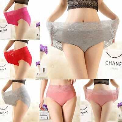 Women Vintage Briefs High Waist Panties Knickers Lace Sheer Underwear Lingerie