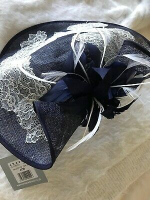 NEW Chesca Fascinator/Hatinator Navy Lace Feathers Wedding/Races Hat BNWT £125