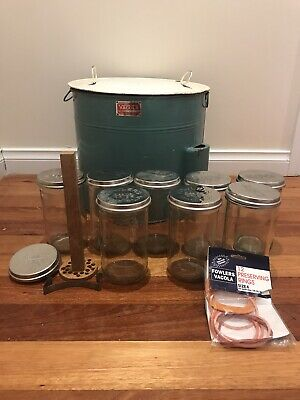 Vacola Vintage steraliser with jars,lids, seals and press/ Gas Heated