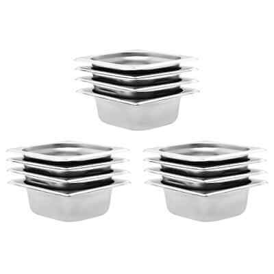 vidaXL 12x Pans GN 1/6 65mm Stainless Steel Kitchen Stackable Tray Container~