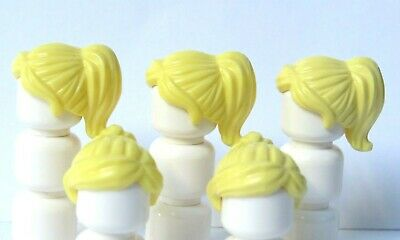Lego 5 Girl Female Minifigure Hair Wig  Long Yellow Blonde Pigtail Over Shoulder
