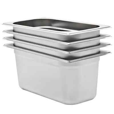 vidaXL 4x Pans GN 1/3 150mm Stainless Steel Kitchen Stackable Tray Container~