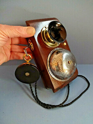 EARLY 20thC MAHOGANY BOXED WALL HANGING TELEPHONE WITH SINGLE LARGE BELL.