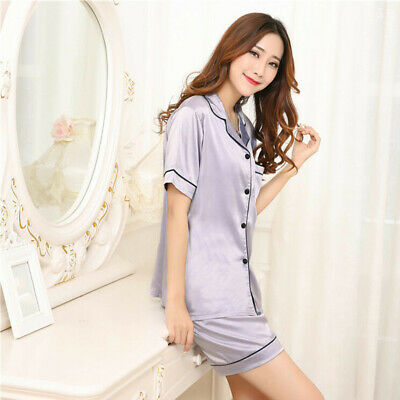 Homewear Sleepwear Night Wear  Plus Silk Short Sleeve Sets Satin Pajama Womens