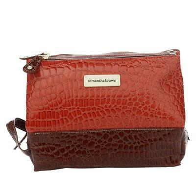 Samantha Brown Croco Embossed 3 Compartment Cosmetic Toiletry Bag READ NWT