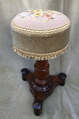 Antique Victorian Mahogany Adjustable Stool - Tapestry Seat