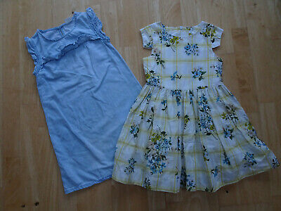 NEXT girls 2 PACK summer dresses yellow floral check denim AGE 6 YEARS EXCELLENT