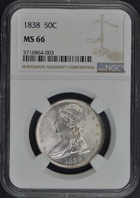 1838 Capped Bust, Reeded Edge 50C NGC MS66