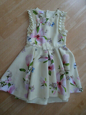 TED BAKER girls yellow floral stunning dress AGE 5 - 6 YEARS EXCELLENT COND