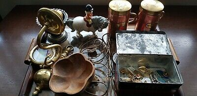 Job Lot Vintage Curios Collectables cruet set brass badgess