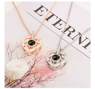 I LOVE YOU Heart Shape in 100 Languages Light Projection Necklace  Couple