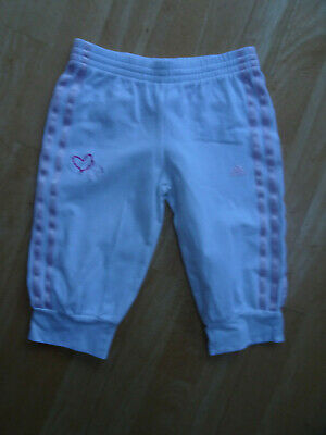 ADIDAS girls white pink cropped tracksuit trousers AGE 5 - 6 YEARS EXCELLENT