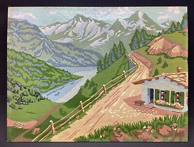 """Vintage Paint By Number Landscape Mountains Lake Dirt Road 12"""" x 16"""""""