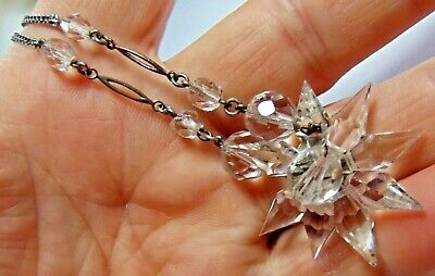 Art Deco Snowflake Style Czech Glass Front Necklace