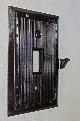 OLD single Switch Plate brown Bakelite vintage 1900's decorated HUBBLE