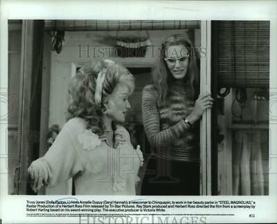 1989 Press Photo Dolly Parton stars with Daryl Hannah in Steel Magnolias