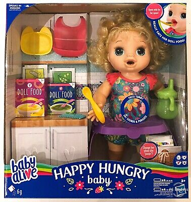 Baby Alive Happy Hungry Eats, Drinks, Poops Doll Set New Girls Toy Gift 3+ Years