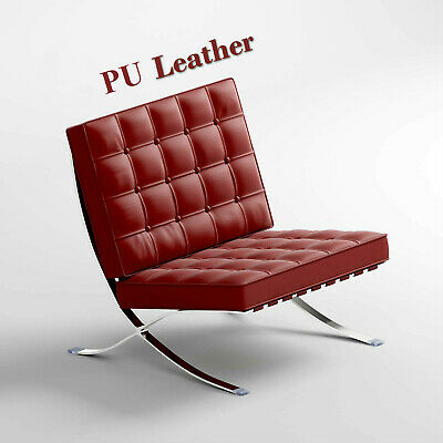 Barcelona Genuine Leather Chair Premium Reproduction Stainless Frame Accent Sofa