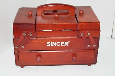 VTG SINGER Salesman Sample Miniature Accordion Style Wooden Sewing Box Organizer