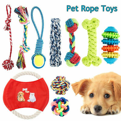 10x Dog Chew Knot Toys Teddy Pet Puppy Teeth Durable Braided Tough Strong Rope