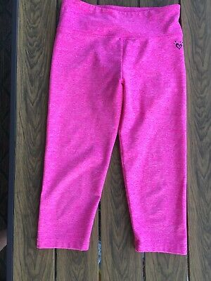 Girls Justice hot pink cropped athletic leggings Size 10
