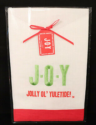 Mud Pie Linen Christmas Towel JOY Jolly Old Yuletide Red White Green Holiday NEW