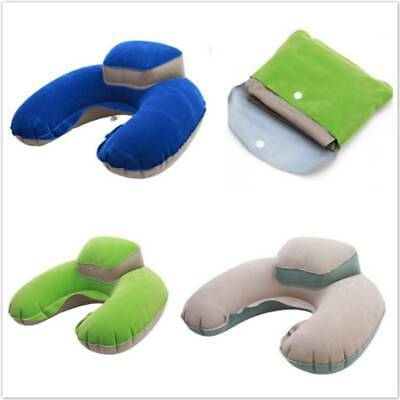 Travel Inflatable Neck Pillow Soft U-shaped Blow Up Cushion Air Head Support B