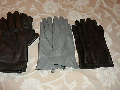 Bundle Of 3 Pairs Ladies Leather Gloves Size L Large