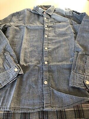 Boys Designer Pepe Has Jeans Denim Effect Reversible Check Shirt Age 16 BNWOT